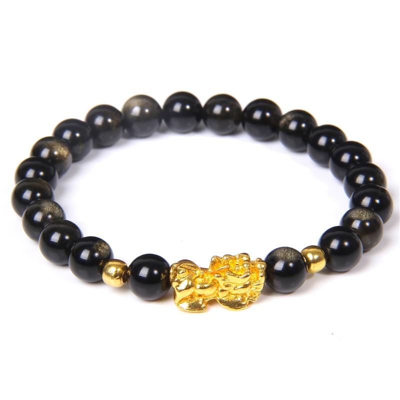 Мужской браслет Fengshui, черный браслет из обсидиана с золотым шармом, браслет Pixiu, природный камень 8 мм из бисера, Женские Ювелирные изделия, счастливый амулет