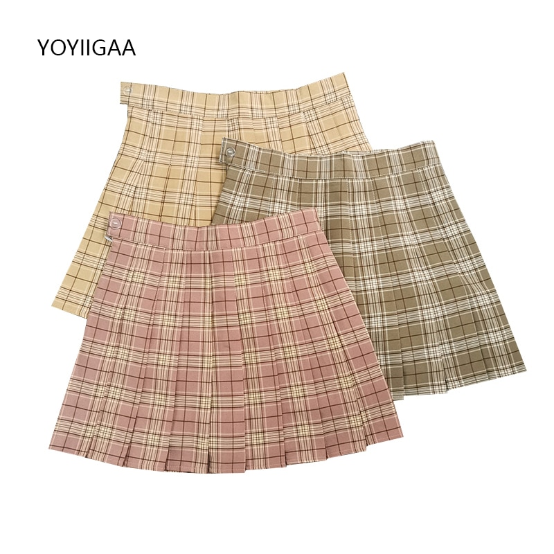 Plaid Women Pleated Skirts Summer High Waist Female Mini Skirt Preppy Style Ladies Girls Dance Skirt Casual A-line Woman Skirts