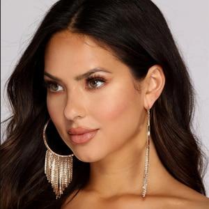 Boutique Shiny Rhinestone tassel Dangle Earrings for Women Fashion Jewelry Hot Sale Evening Dress Statement Earrings Accessories