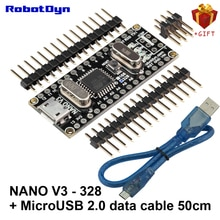 Nano V3 ATmega328/CH340G + câble de données USB 2.0 (50 cm). Compatible pour Arduino Nano V3.0. Micro USB, têtes de broches non soudées.