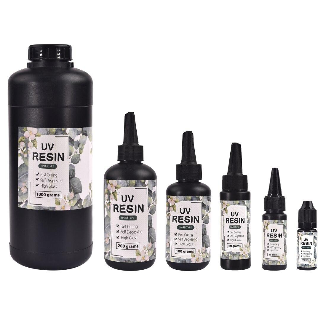Uv resina cola 10/15/25/60/100/200g ultravioleta cura solar cura luz solar ativado duro diy secagem rápida para jóias resina gel      -