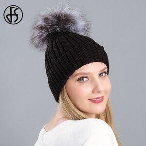 FS Winter Warm Velvet Real Raccoon Fur Pompom Knitted Beanie Hat Outdoor Slouchy Cap Designer Bonnets For Women Skullies Beanies