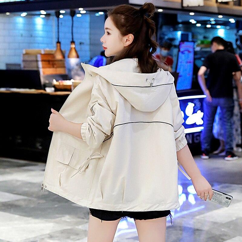 Coat Women's Korean-Style Comfortable All-Match Boyfriend Style Jacket Hooded Casual Windbreaker Fas