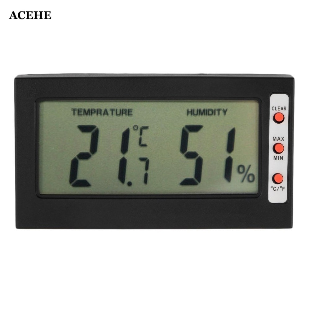 Acehe nova digital lcd termômetro higrômetro max min memória celsius fahrenheit medidor de umidade higrômetro medidor interior