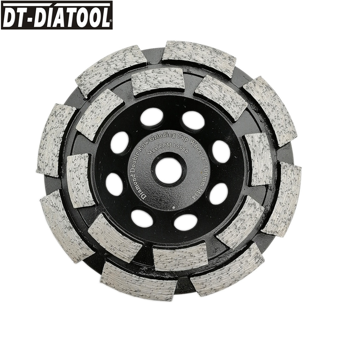 DT-DIATOOL 1pc M14 Thread Dia 100mm/4inch Diamond Double Row Cup Grinding Wheel For Concrete Brick Hard Stone Granite Marble