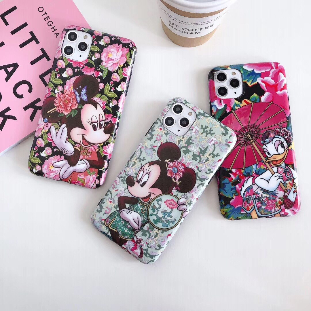Funda de teléfono para iPhone 7, 8, 6 s plus, 11 pro, X, XS, Max, XR, con diseño floral de Minnie Mouse, margaritas, estilo chino a la moda
