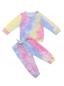 Little Girl's 6M-4T Cotton Long-sleeved Suit Fresh Tie-dye Round Neck Pullover Top and Elastic Waist Long Pants