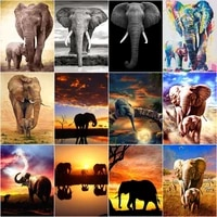 gatyztory 60%c3%9775cm africa elephant diy painting by numbers handpainted oil painting kill time home decor