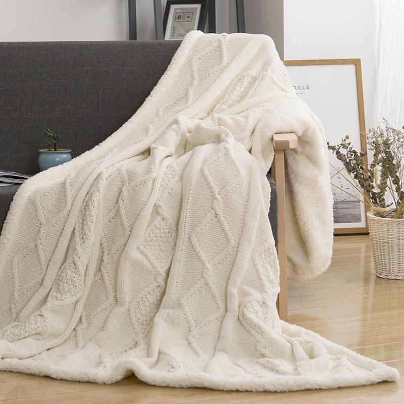 JU xiang Lambs-بطانية محبوكة من الصوف ، طبقة مزدوجة ، من القطيفة شيربا ، للأسرة ، الأريكة ، مفرش سرير
