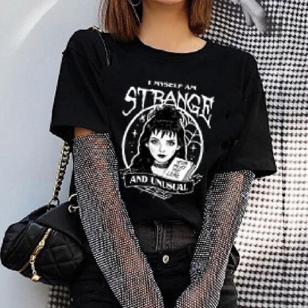 Fashionshow-JF Cool camiseta de moda Beetlejuice I Myself Am Strange e inusual negro camiseta mujeres lindo Grunge gótico Tee Hallo