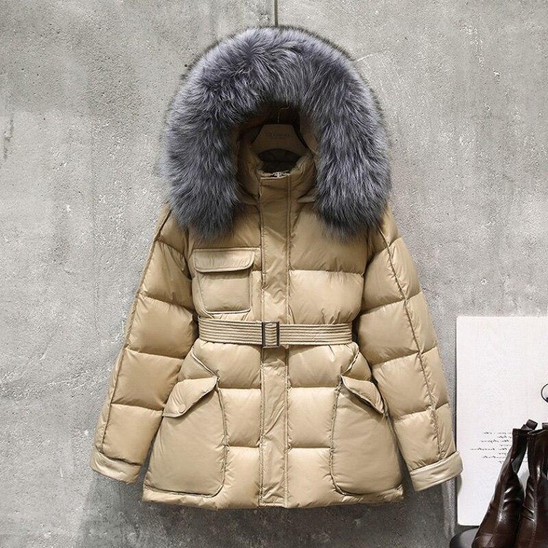 2020 mulheres inverno curto para baixo parka pato branco para baixo casaco grosso quente puffer jaqueta real natural pele de raposa outwear feminino com cinto