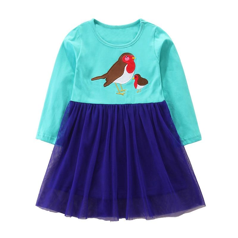 SAILEROAD niñas bonitos pájaros vestidos impresos niños Vestido de manga larga traje bebé niña princesa vestido algodón otoño niños ropa