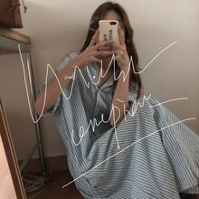 Korean Chic French Minority Spring/Summer Idle Style Striped Shirt Loose Western Style Long Shirt Dr
