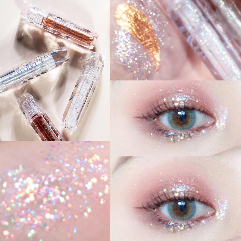 1pc diamante metal sombra de olho brilho único líquido sombra à prova dwaterproof água pigmento do olho maquiagem kit tslm2