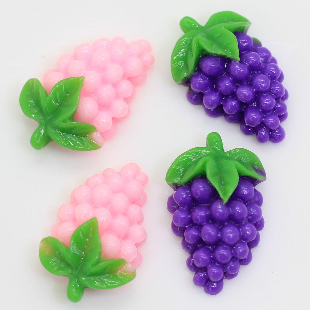 20/50 pcspink roxo liso volta resina cabochão frutas artificiais uvas diy decorativo artesanato enfeite acessórios