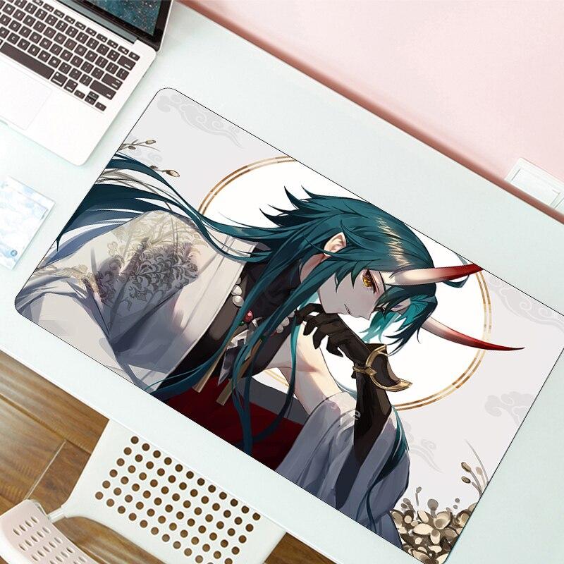 Genshin ударопрочный коврик для клавиатуры и мыши Гранде Мультфильм XL офисный резиновый аниме игровой коврик для мыши геймерский большой комп...