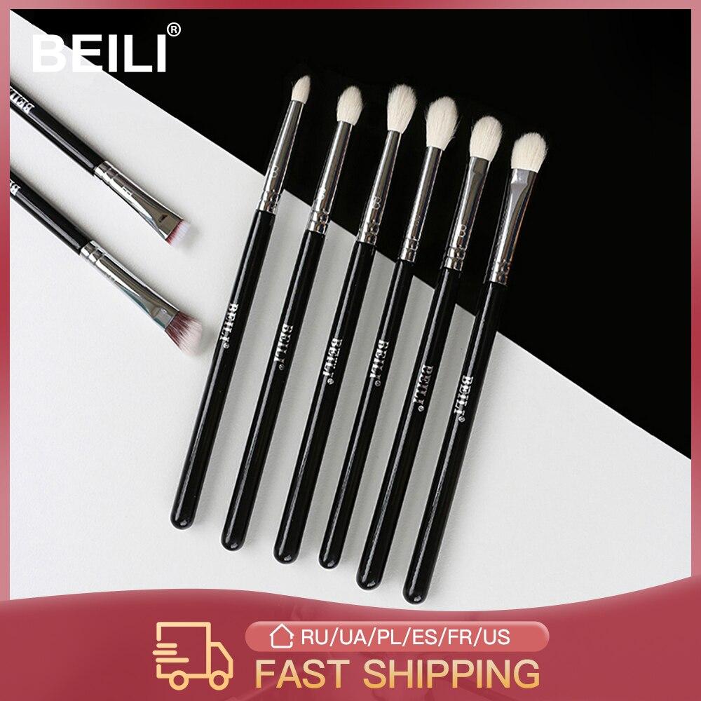 BEILI Professional 8pcs Classic Natural Eye Makeup Brushes Set Eye Shadow Eyebrow Blending Smokey Black Beauty Make up Brushes