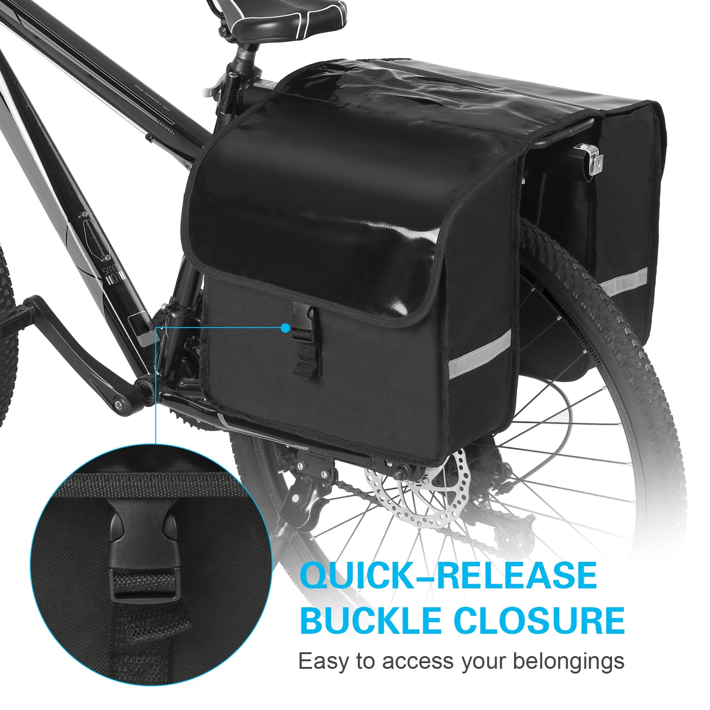 28L Water Resistant Bicycle Rear Seat Carrier Bag Rack Trunk Bags Bike Commuter Bag Pannier Bike Accessories