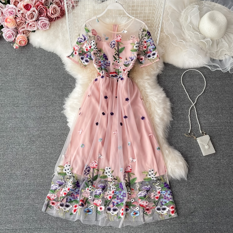 Banulin 2021 Summer Fashion Runway Elegant Party Dress Women Lace Mesh Flowers Embroidery A Line Long Dresses N69989 plain lace embroidery a line beach dress