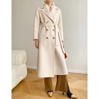 special double sided cashmere coat womens medium and long double breasted slim fit wool coat