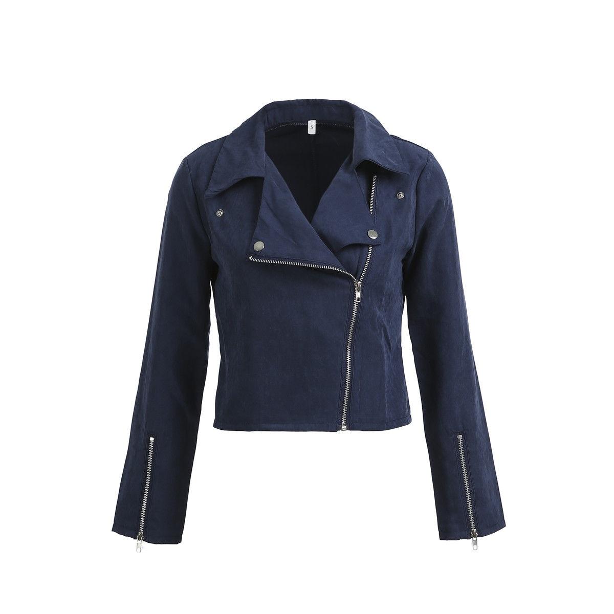 Fashion Women's Zipper Tunic Army Jacket Coats Casual Ladies Autumn Leather Jackets Zip Up Biker Coats Flight Tops Clothes New