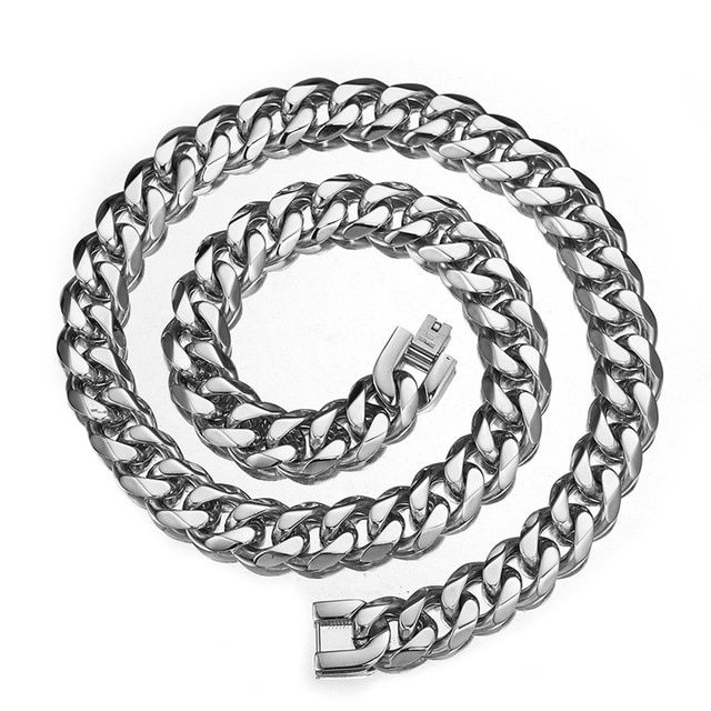 15mm Hip Hop Luxury Men Necklace Silver Color Thick Stainless Steel Cuban Chain Simple Rock Fashion Women Gift Jewelry бижутерия