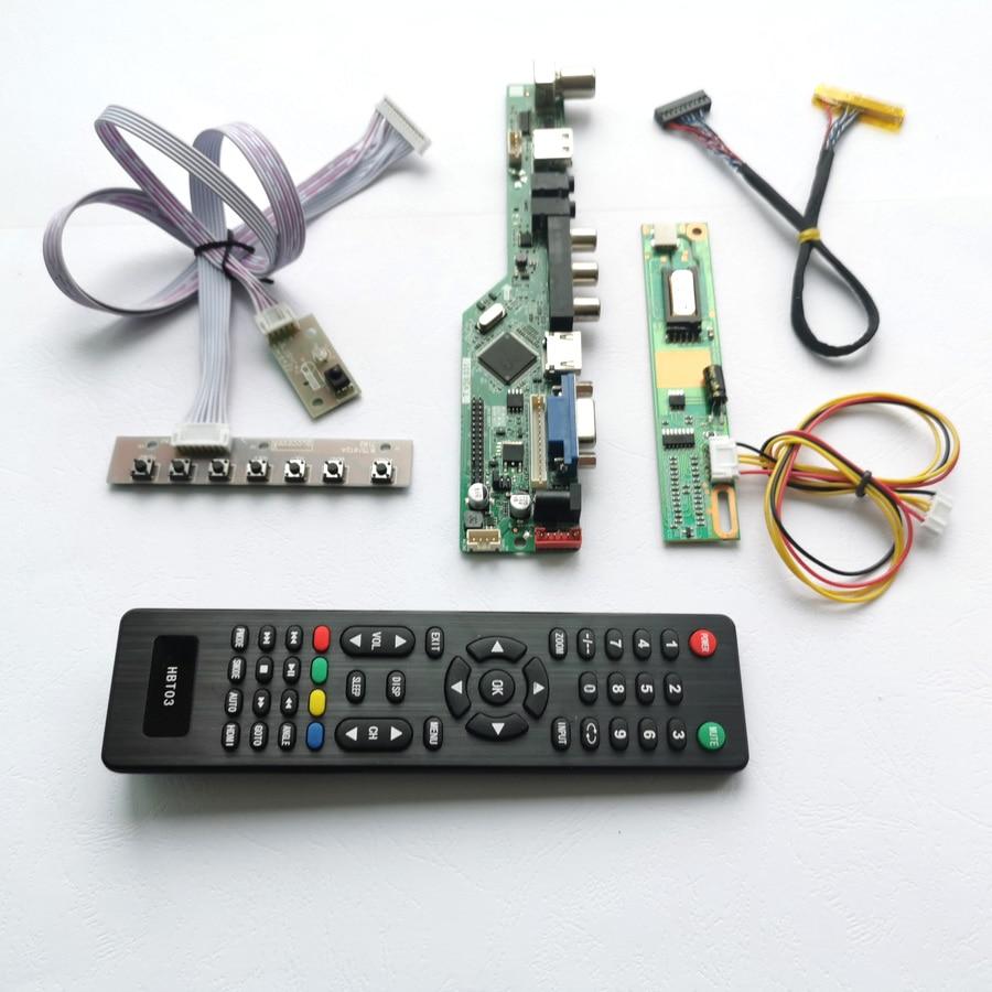 Para LP150X08-A3/A5 Control Remoto + inversor + teclado 1CCFL 30Pin LVDS VGA AV HDMI USB RF panel de la pantalla LCD T V56 Placa de controlador kit de bricolaje