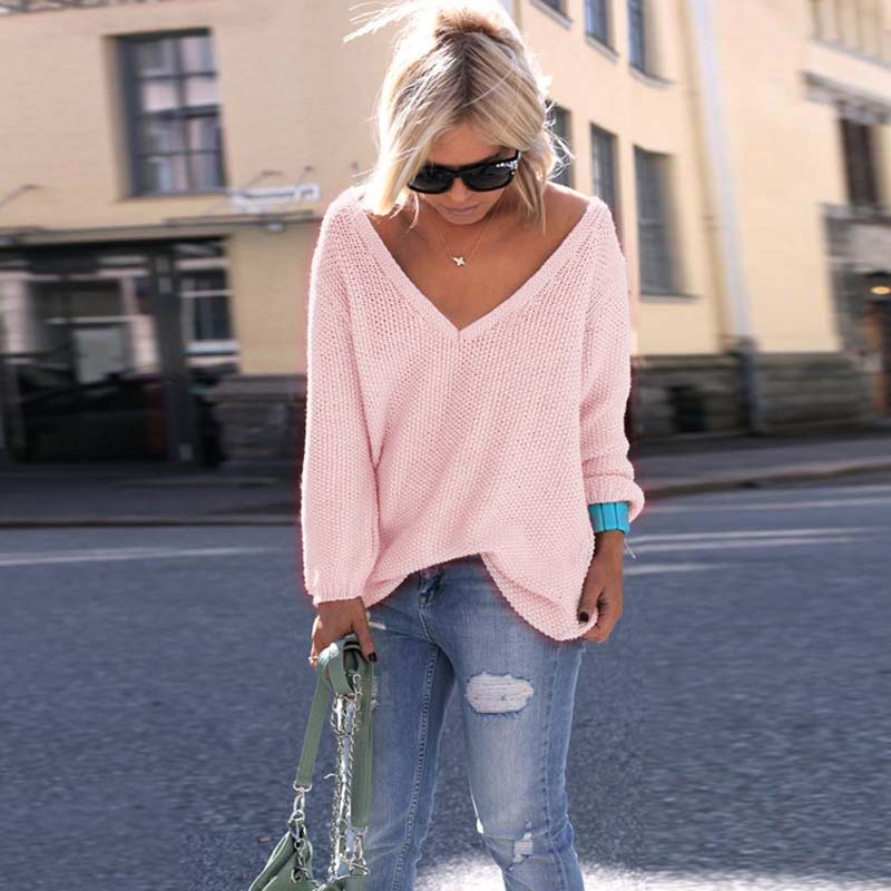 2020 Autumn Pink Sweater Women V Neck Oversized Sweater Pullover Women Jumper Women Fashion Loose Sweaters Knit Female