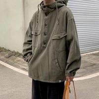 oversized spring autumn jacket cotton loose japanese vintage retro casual hooded workwear jacket boy couple punk gothic clothes