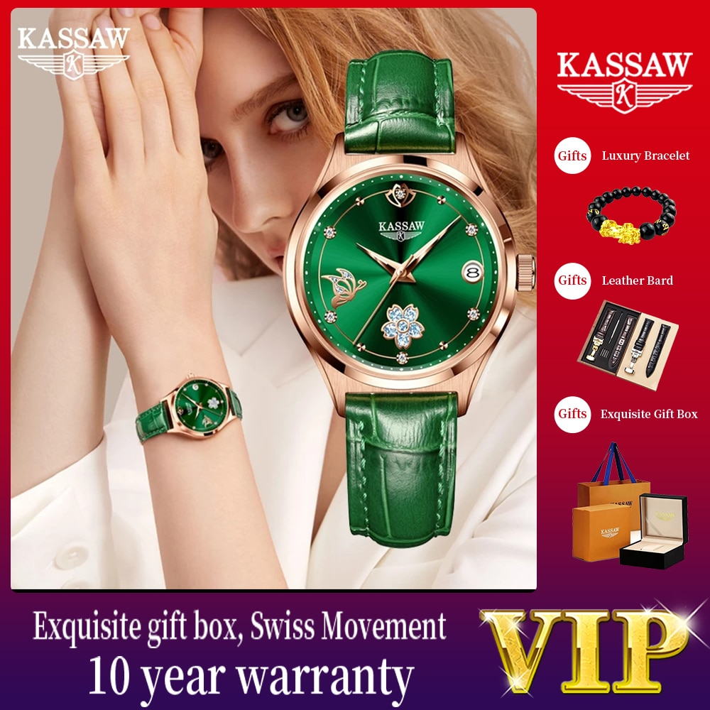 KASSAW Watches for Women Leather Mechanical Watch Automatic Wristwatch Waterproof Simple Gift for Women