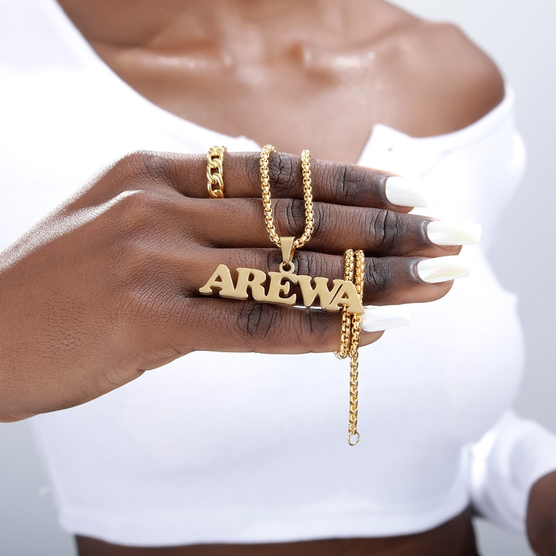 Gothic Jewelry Custom Name Necklace Stainless Steel Pendant Gold Long Bead Chain Personalized Nameplate Necklaces Women Men Gift hip hop jewelry cuban chain customized nameplate necklaces for women men punk gold tone solid personalized custom name necklace