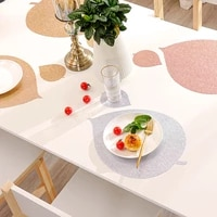 pvc simple leaves oil resistant non slip kitchen placemat coaster insulation pad dish coffee cup table mat home decor 51079