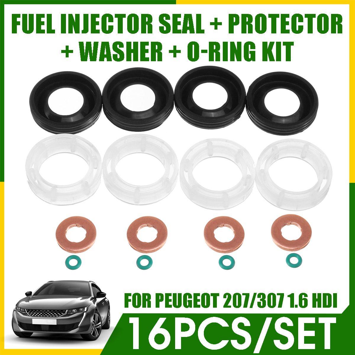 Sello inyector de combustible para coche de 16 Uds + protectores + arandela + O-RING para PEUGEOT 207/307/407 socio experto TEPEE 1,6 HDI 2004 + # 3M5Q-9R524-AA