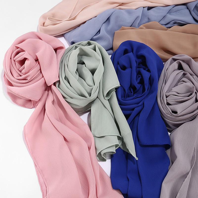 75*180 Malasia moda arruga la gasa hijab bufanda nuevo chal liso transpirable bufanda islámica foulard femme musulman