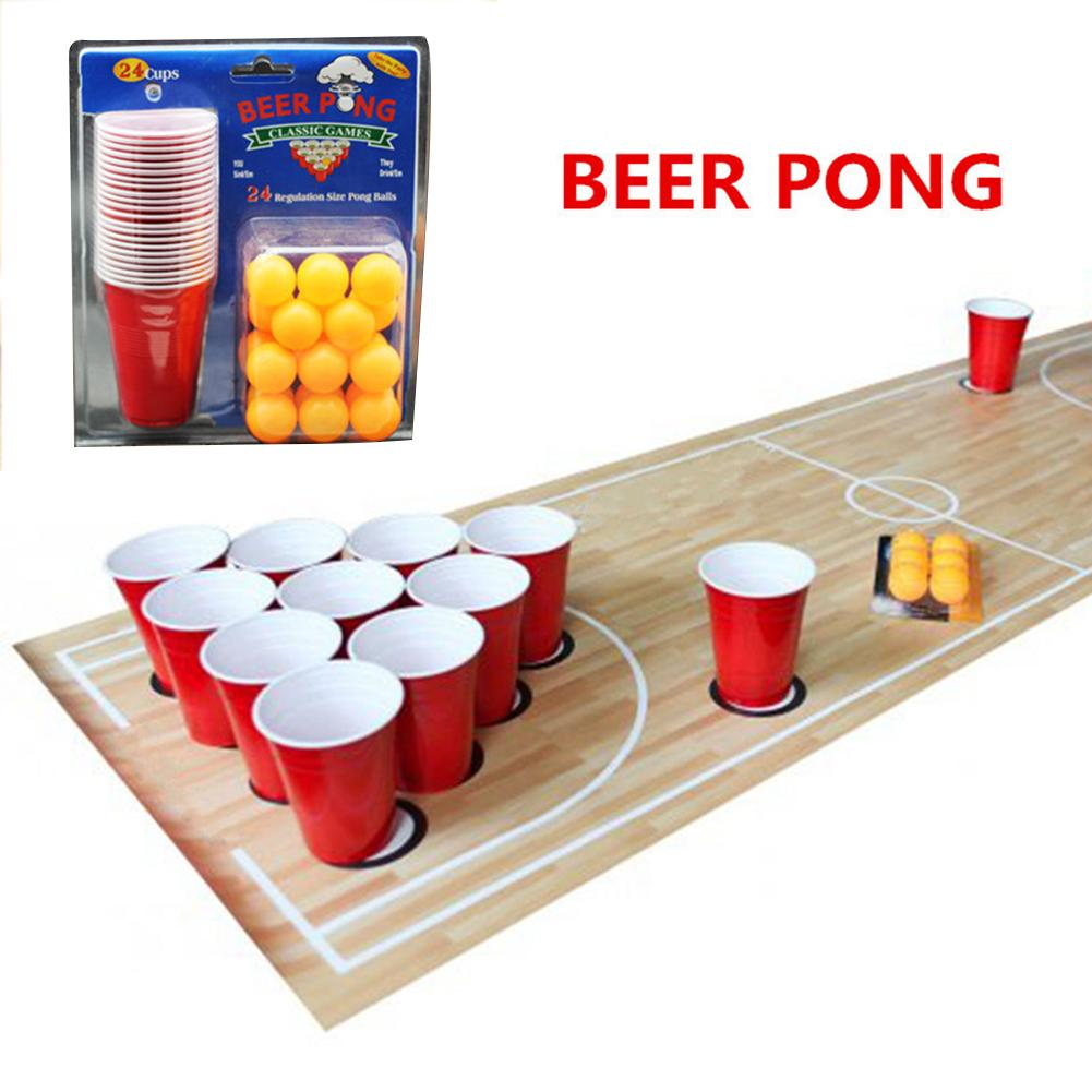 1 Set of Ping Pong Glasses Game Throwing Drinking Props Beer Pong Set 24 Red Cups Ping Pong Balls