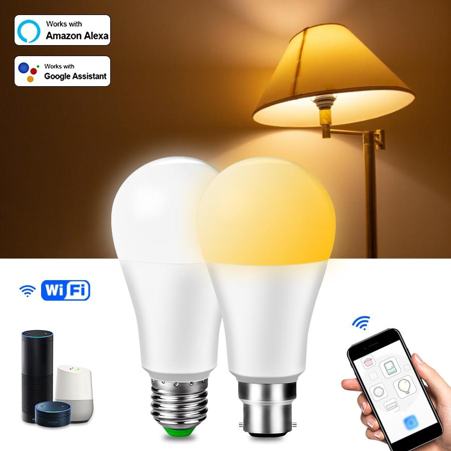 15W WiFi Smart Light Bulbs E27 LED Bulb B22 LED Lamp Dimmable APP Vioce Control Night Light for Home Work with Alexa Google Home