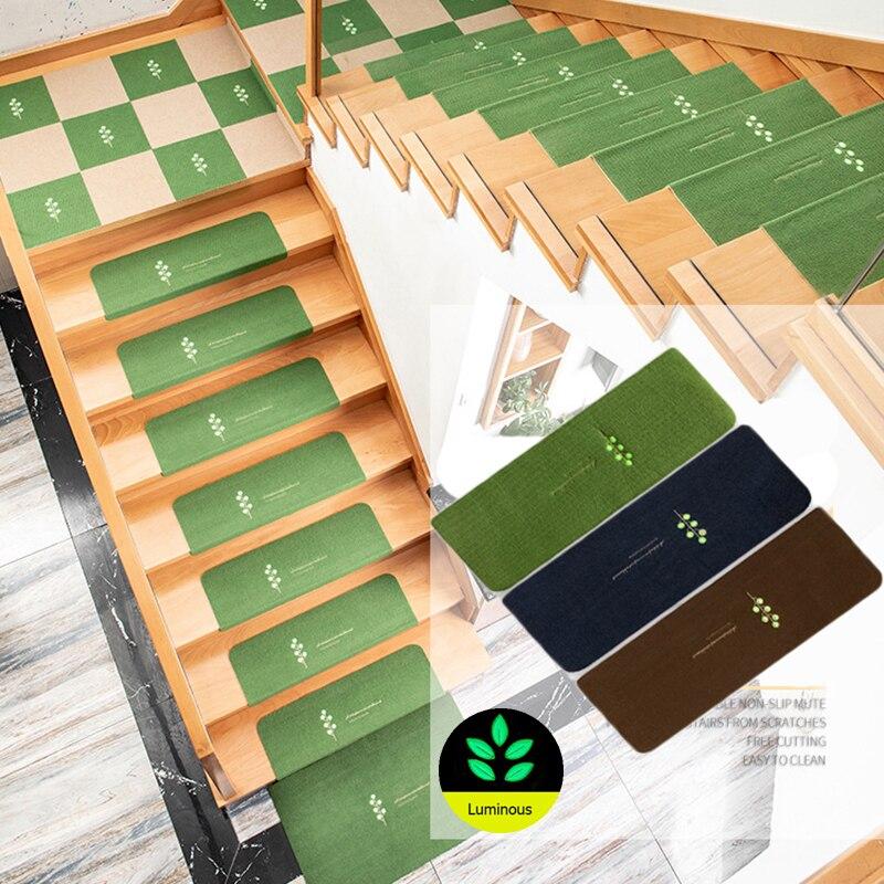 Нескользящий ковер для лестницы, мягкий однотонный самоклеящийся коврик для лестниц, светящийся водонепроницаемый
