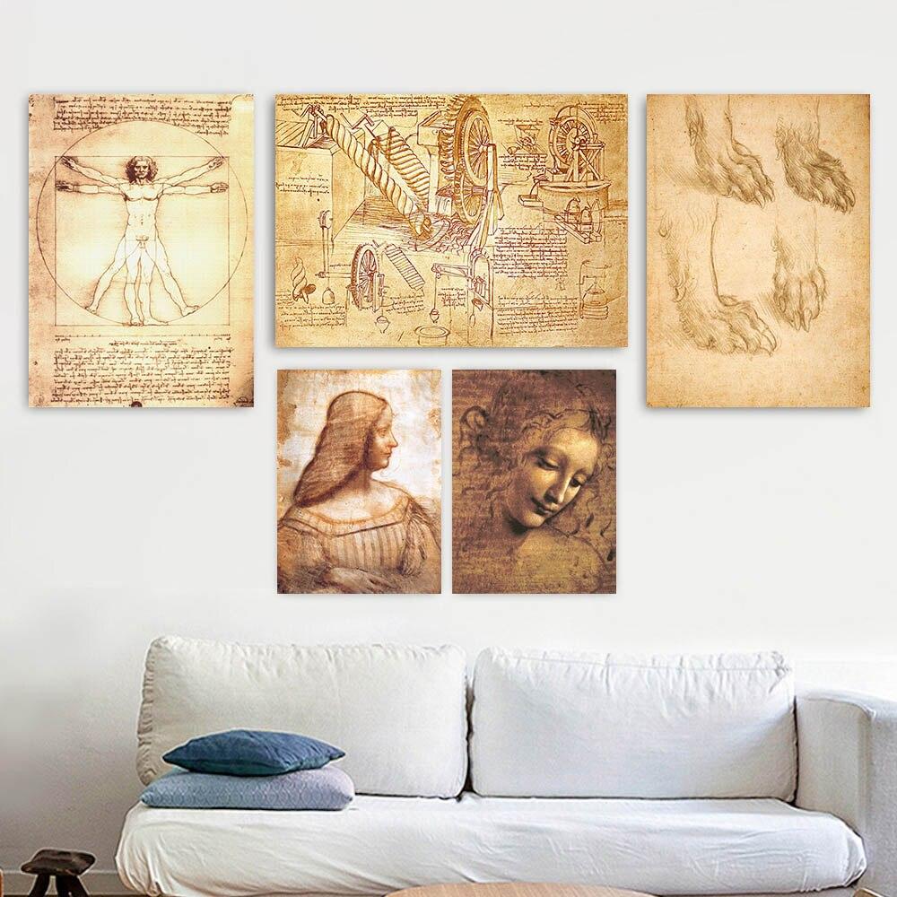 Leonardo Da Vinci Studies of a BeWalking Drawings of Water Lifting Devices Study for the Head of Leda wall painting arts prints