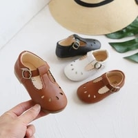 baby cute shoes 2021 new wide children girls pu leather hollow out loafers princess rubber danceing flat shoes kids toddler shoe