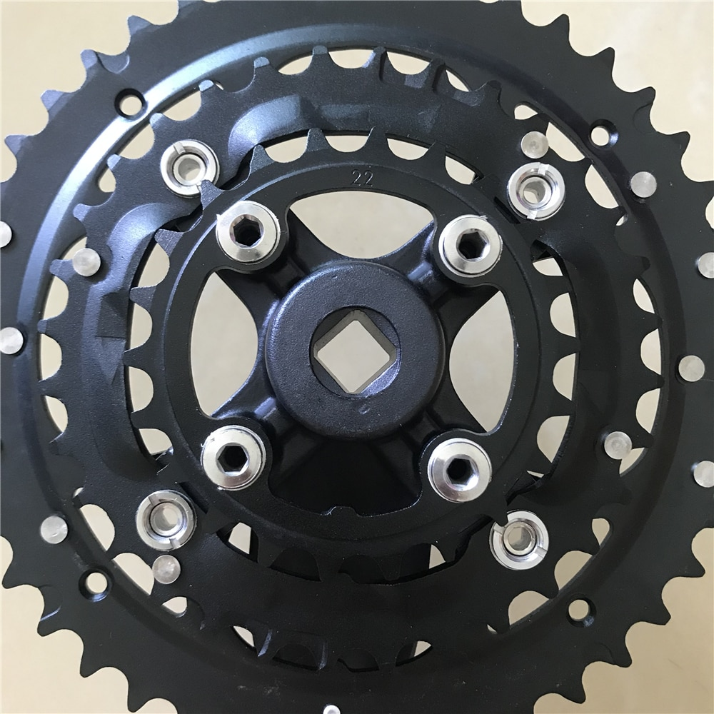 """Mountain Bikes Crankset 104-64BCD 44T 42T 32T 22T Triple Speed Aluminum Alloy Chain Wheel MTB Chainring 3/32"""" Tooth Thickness"""
