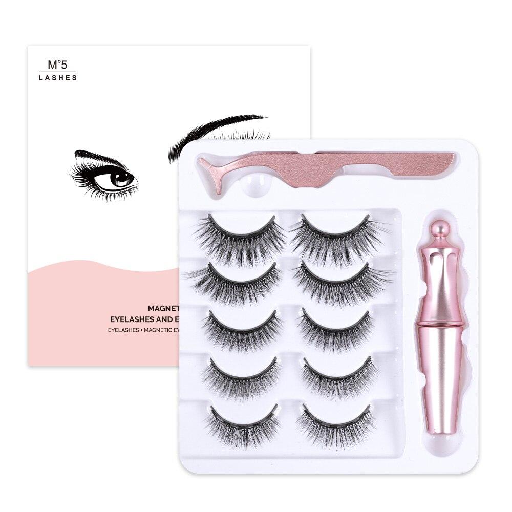 Magnetic Eyelashes Set Magnet Eyeliner & Tweezers Set 3/5 Pairs No glue Long Lasting 5 Magnet Eyelash Extension 3D Mink Lashes