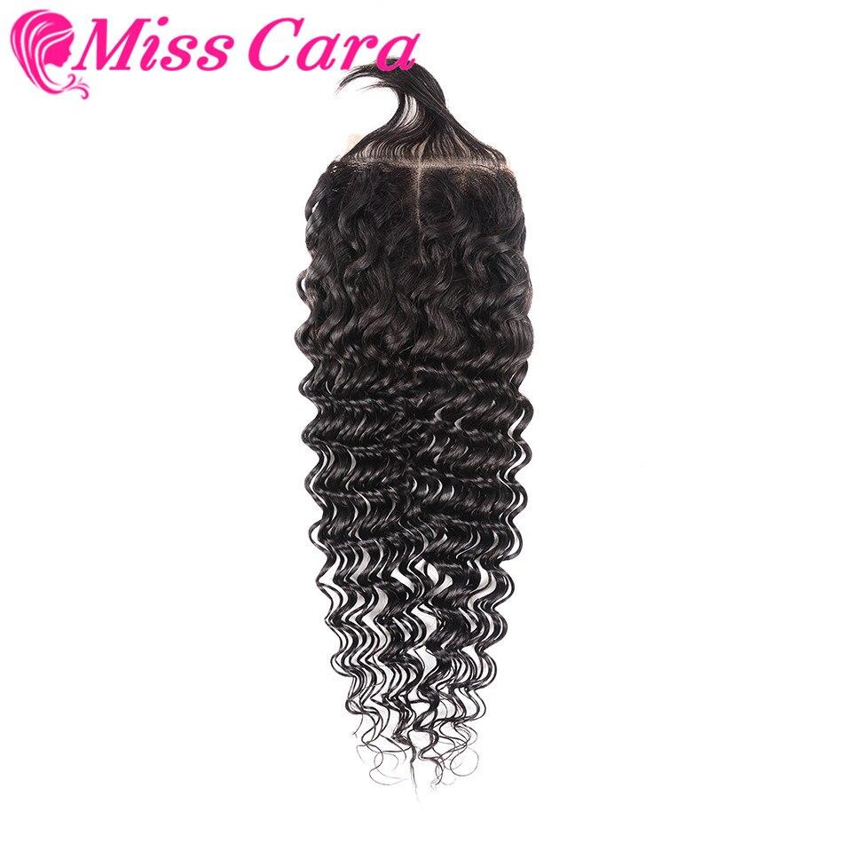 Miss Cara Deep Wave Brazilian Human Hair Closure Remy Hair Weave Bundles Light Brown Middle Part 4x4 Lace Closure