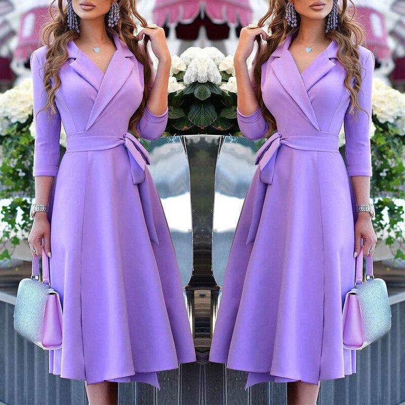 Осень-зима 2021, однотонное расклешенное платье средней длины с отложным воротником и V-образным вырезом и длинным рукавом, Модная элегантная ...