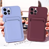 signalshin plain color anti fall with card phone case for iphone x xs max xr 12 11 pro max se 2020 8 7 plus 360 dgree soft cover