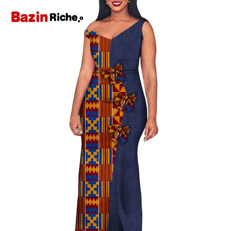 Африканский Воск Принт женская одежда галстуки-бабочки украшения Модные лоскутные красивые женские платья WY6391