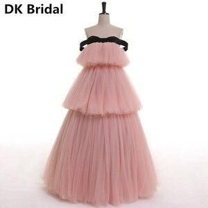 С плеча силиконовые формы для выпечки форма розовый сексуальный A-Line тюль бальное платье вечернее платье Длинные платья для выпускного вече...