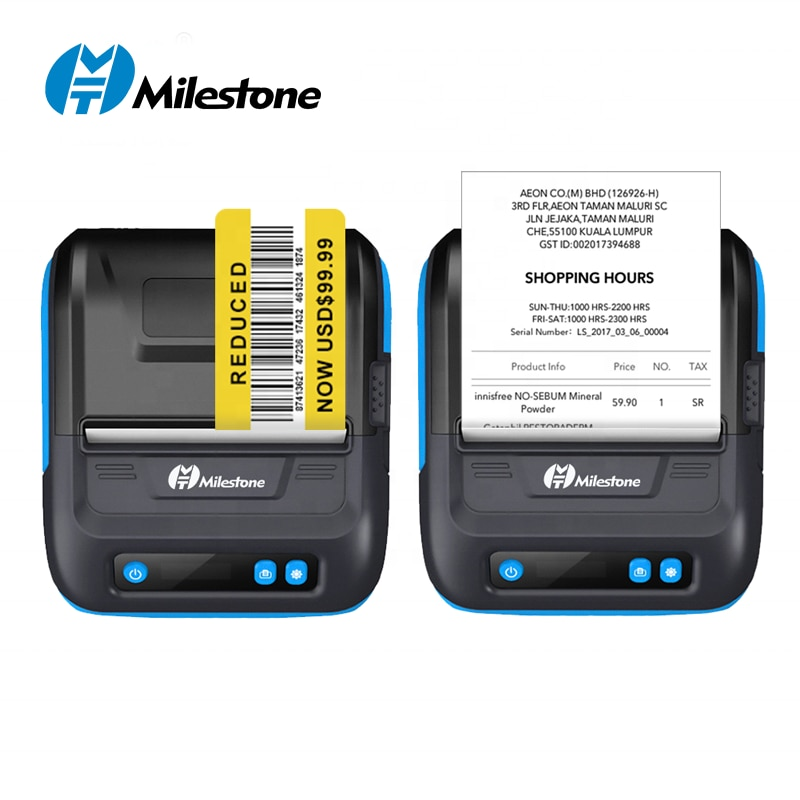 Milestone MHT-P29L  80mm Mobile PortableThermal Direct Label Printer Bluetooth Pocket Printer Receipt 2 in 1Free APP Android IOS