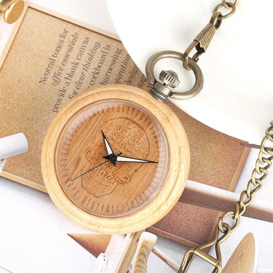 Natural à Moda de Bambu Relógio de Bolso de Quartzo Relógio de Bronze Relógio do Vintage Carve Flor Crânio Luminoso Mãos Dial Pingente Fob Novo