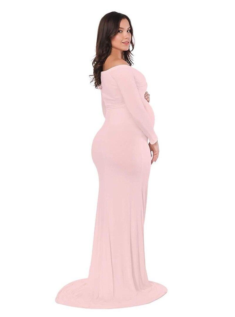 Pink Women Off Shoulder Maternity Slim Cross-Front V Neck Long Sleeve Maxi Gowns for Photo Shoot Pregnancy Dress Grossesse Robe enlarge