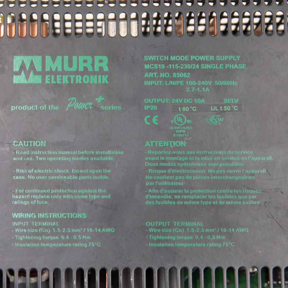 Germany MURR 85062 switching power supply MCS10-115-230 / 24 single-phase output 24VDC 10A enlarge